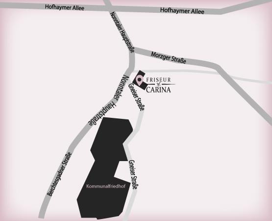 Anfahrtsszizze zu Friseur Carina in Salzburg Nonntal